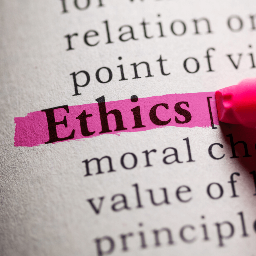 the word ethics being highlighted in dictionary