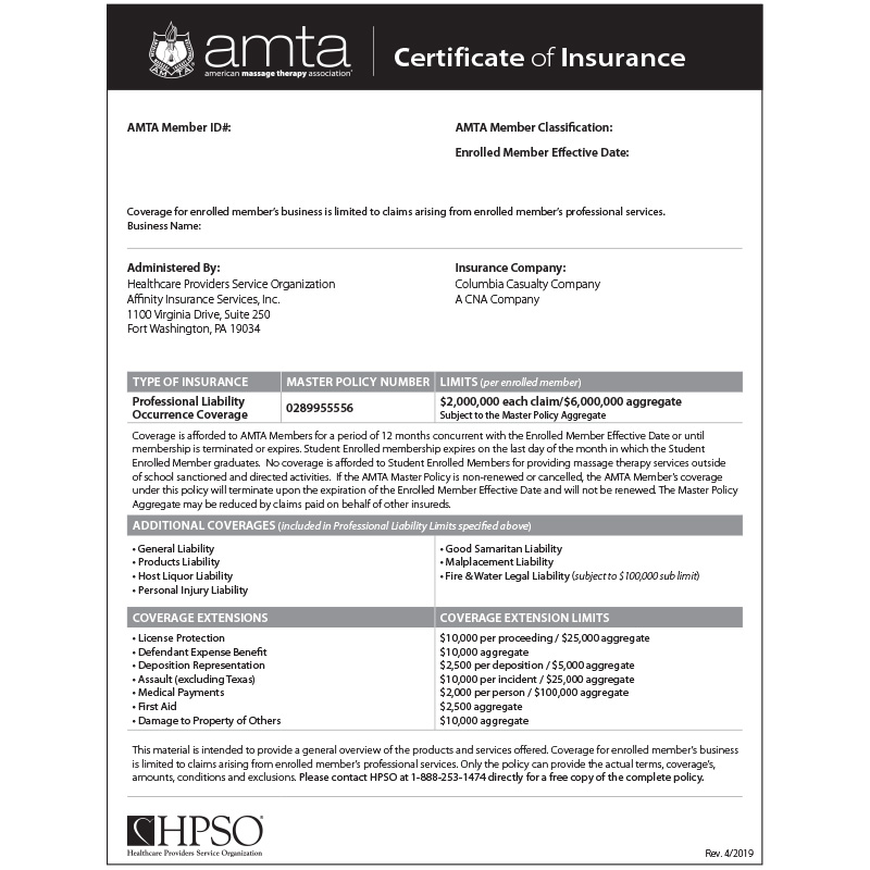 AMTA Certificate of Insurance