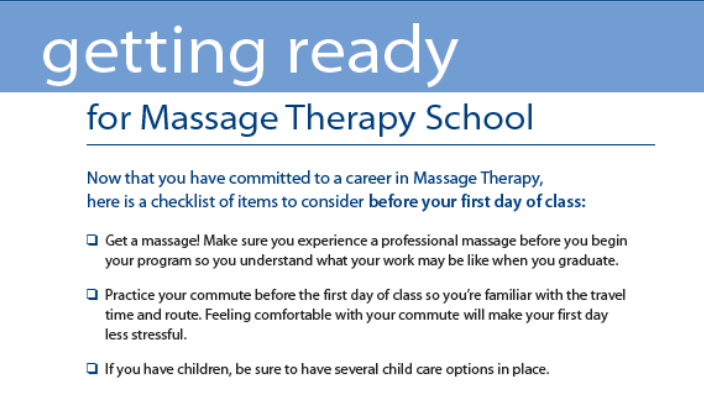 getting ready for massage school text